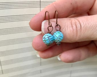 Turquoise and Chocolate Vintage  Button Dangle Earrings