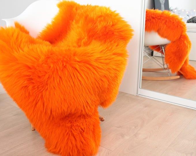 Genuine Natural Orange Sheepskin Rug Sheepskin Throw  Scandinavian Style | Scandinavian Rug | Orange Sheepskin