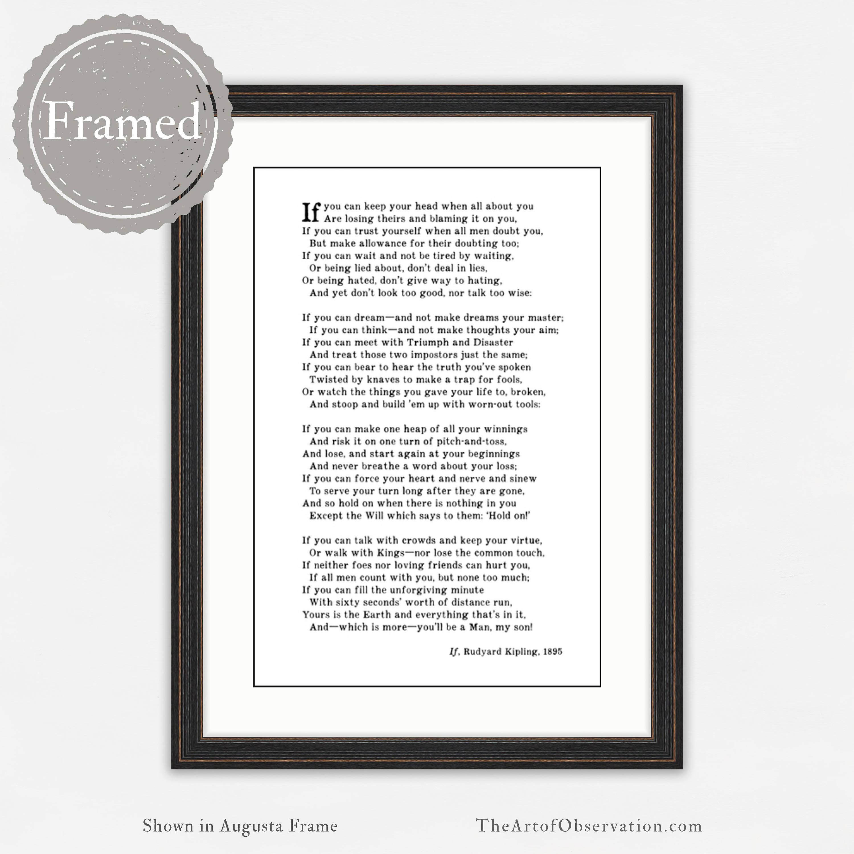Framed Print Rudyard Kipling Poem If Graduation Gift For Him
