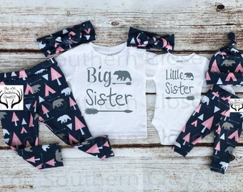 Big Sister Little Sister Outfits, Baby Girl Coming Home Outfit Set,Country Outfits,Pink, Bears,Sister,Pink,Gray ,Arrows,Teepees, Bears