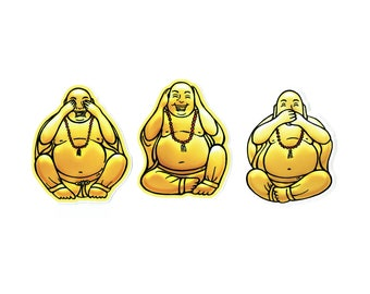 See no, hear no, speak no evil buddha stickers