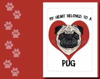 PUG CARD, Pug Greeting Card, Pug Notecard,  Pug Birthday Card, Frameable 5x7 Pug Card, Pug Love