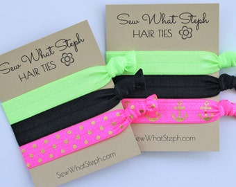 Shades of Neon Elastic Hair Ties / Creaseless Hair Tie / Green, Black, Hot Pink / 3-ct / Wristlet Tie / 80's Skating Party Favor / Nautical