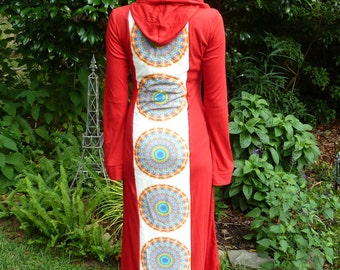 Sacred Geometry Mandala Hooded Red Robes - 2 Unique Designs - Visionary Wearable Art! - 100% Organic Cotton