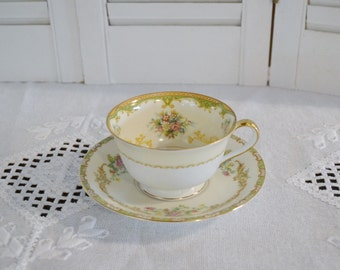 Vintage Noritake Claudia Cup and Saucer Floral Pattern 583 Morimura Japan Bridal Baby Shower PanchosPorch