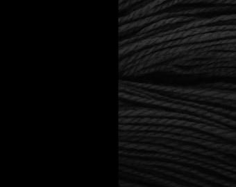 Wool yarn, black, bulky 2-ply worsted pure wool knitting yarn 50g/65m cake