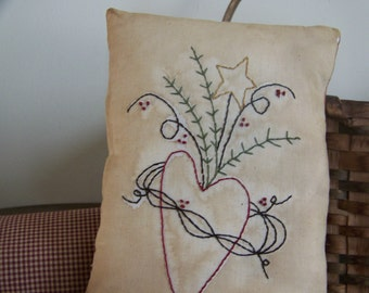 Primitive Grungy Stitchery Heart And Star Ticking Stripe Pillow