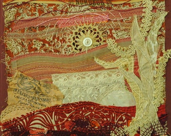 Sunset in the Land of the Ivory Tree: textile landscape collage