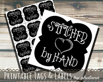 Printable PDF Tags or Labels - Stitched by Hand