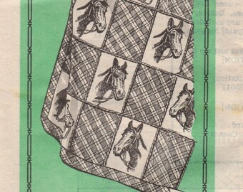 """FACTORY FOLDED 1980's Mult-Stamp Transfer for Embroidered Horse Quilt 61"""" x 104""""  Mail Order Pattern 7449"""