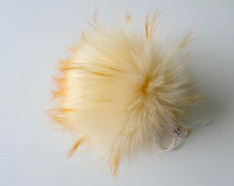SALE Butterscotch Faux Fur Pom Pom