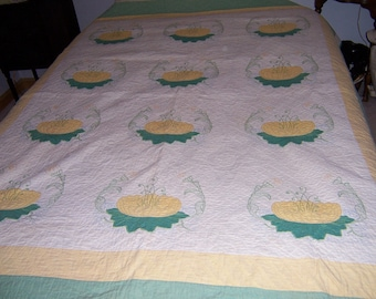 Vintage 1940's Appliqued Embroidered Quilt-Lotus Flower on Lilly Pad