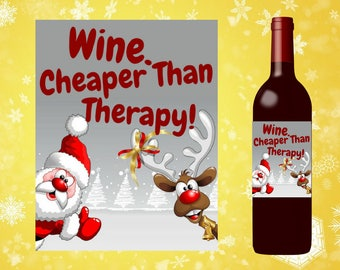 Funny Christmas Wine Label, Funny Christmas gift, funny teacher gift, funny friend gift, funny coworker gift, funny parent gift,