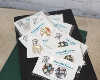Pin Sets    Magnet Sets    Grab Bag    Surprise Gift    Upcycled Books    Scrapbook Pins    Bookish Gifts    Book Lover Gifts    Magnet Love
