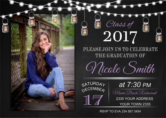 Graduation invitation high school graduation college graduation invitation high school graduation college graduation invite mason jar ball jar backyard party any color of the text filmwisefo Choice Image
