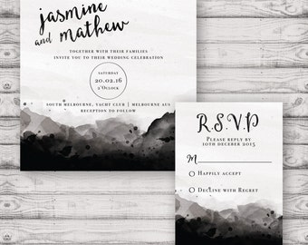 Faded Watercolour Wedding Invitation Suite - Print at Home Files or Printed Invitations - Personalised Wedding Stationery Suite