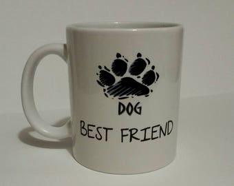 Dog best friend paw, coffee mug, .