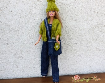 Clothes, Barbie, overall pants, top, vest, bag and hat. hand made
