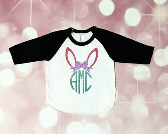 Girl Easter Outfit - Toddler Girl - Easter Shirt - Baby Girl - Bunny Shirt- My First Easter Outfit - Bunny Monogram - Bow Monogram - Easter