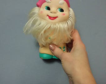 Soviet Vintage Rubber Toy Gnome Russian Doll 1970s