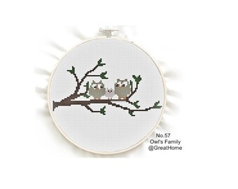 Owl's Family, Counted Cross Stitch Pattern , PDF beginner cross stitch, No.57, Instructions