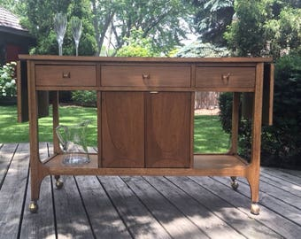 RESERVED FOR CHRISTINA:  Broyhill Brasilia Mid Century Modern Bar Cart / Refinished / Stained / Walnut / Bar Cart / Mad Men / 1950s