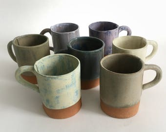 Hand-Crafted Stoneware Pottery Mugs in Multiple Colors, Made to Order Ceramic Tea and Coffee Cups