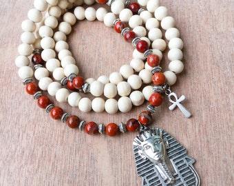 Egyptian Mala Beads   Ankh Necklace   Red Jasper & White Wood   108 Bead Mala Yoga Beads   Eye of Horus, Pharaoh Pharaoh Pendant Necklace