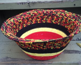 Colorful Fabric Basket -- Red, Black & Yellow