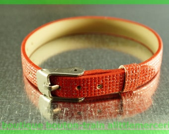 Leather Bracelet checkered N1 low glitter Pearl width 8 mm