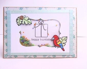 Kids birthday - happy birthday card - parrot jungle card Shaker