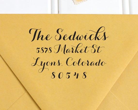 Address Stamp, Return Address Stamp, Calligraphy Stamp, Self Inking ...