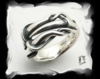 Roots and spike ring 925 sterling silver oxidized, brushed, tribal gothic inspiration | # 513