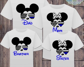 Matching Disney Family American Flag Tshirts - Thin Blue Line Sunglasses Mickey Minnie  - Disney Inspired - Fourth of July - American Flag