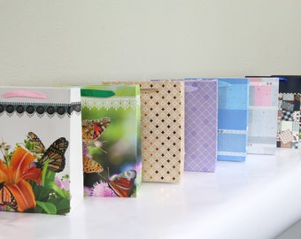 12x Paper Gift Bags w/ Handles, Assorted,Wedding Shower Birthday Party Supplies