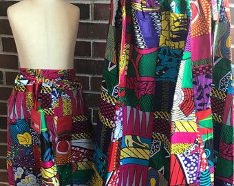 Multi colored Skirt/ Mixed Print Skirt/ African Print Skirt