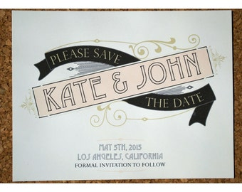 Retro Style Save the Date - Vintage Elegant Banner Style Wedding Save the Date