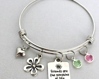 Friends Bracelet, Friends are the Sunshine of Life, Friend Charm Bangle, Gift for Friend, Friendship Bracelet, Best Friend Gift