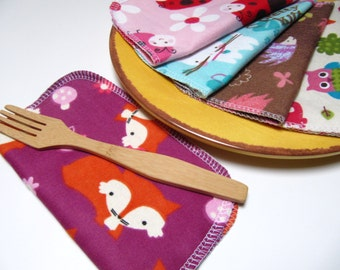 Cloth Napkins, 5 Girls Mixed Prints, Unpaper Napkins, Back To School Lunch Box Napkins