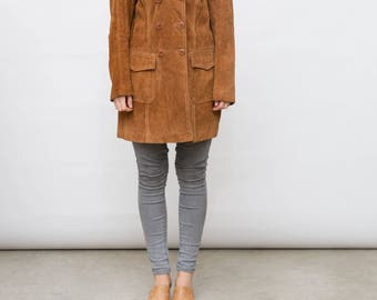 Vintage Suede Jacket / 90s Camel Brown Suede Button Up Jacket / Large L Size / Women's Double Breasted Coat / Leather Jacket