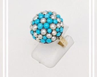Circa 1910 Rare Silver Turquoise and Pearl Bombe Ring