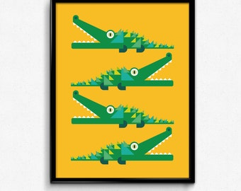 Crocodile Illustration - Nursery Art, Kids Wall Art, Home-decor.