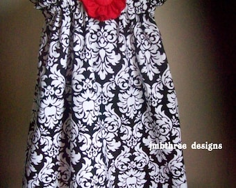 Damask Dress in your choice of size 0-3m, 3-9m, 9-12m, 12-18m, 18-24m, 2t or 3t