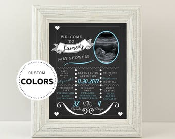 Baby shower Chalkboard sign - Welcome shower sign - Personalized - Pink or blue - Choose your size - Printable.