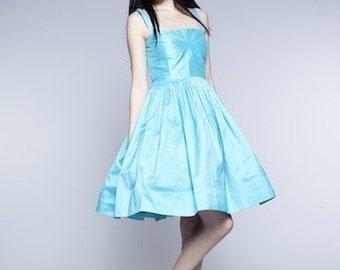Blue prom dress Blue bridesmaid dress Blue pin up dress Fit and flare dress Plus size dress Blue silk dress 1950 dress 50 dress Party dress
