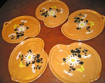 Vintage, Pre-Occupied Japan, Iridescent Lusterware, Lusterware, Antique Lusterware, Hand-painted, Appetizer Plates, Hors d'oeuvre plates,