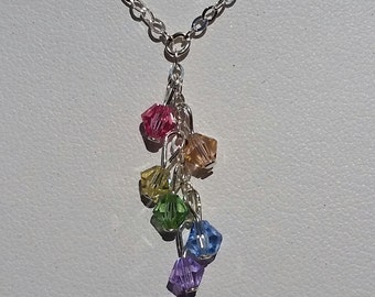 Tiny pastel multi crystal and sterling best seller necklace