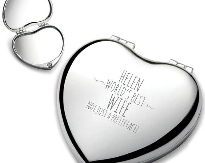 Personalised engraved WIFE heart shaped compact mirror birthday gift idea, Not just a pretty face, chrome plated - HEM-F5