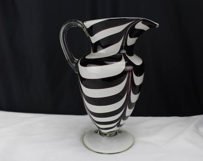 Vintage Carlo Moretti Murano Art Glass Pitcher Purple White Stripes
