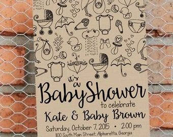 Gender Neutral Baby Shower Invitation - Black and Tan - Sketch - Doodles - Baby Shower - Baby Sprinkle - Customize - Printable - 5x7